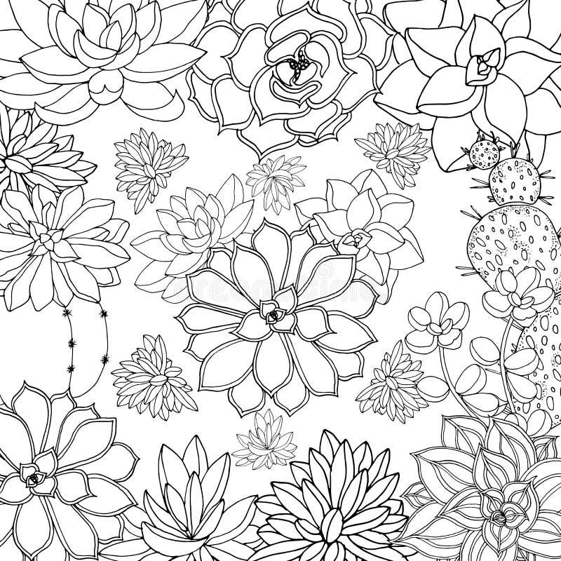 Rabiscar o fundo floral no vetor com a página colorindo preto e branco das garatujas ilustração royalty free