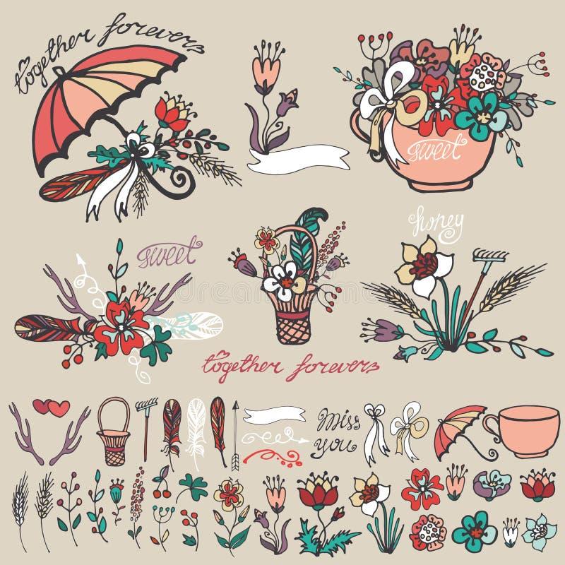 Rabiscar o grupo floral, decoração esboçada mão do elemento ilustração royalty free