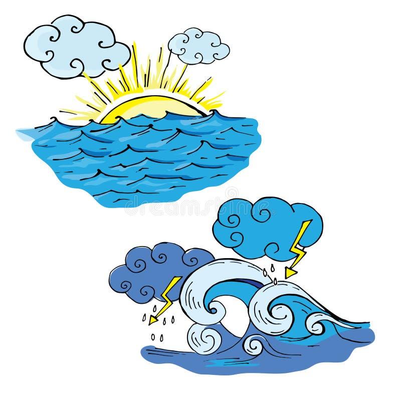 Rabiscar o mar e o sol e as nuvens e o mar a tempestade e a chuva imagem de stock royalty free