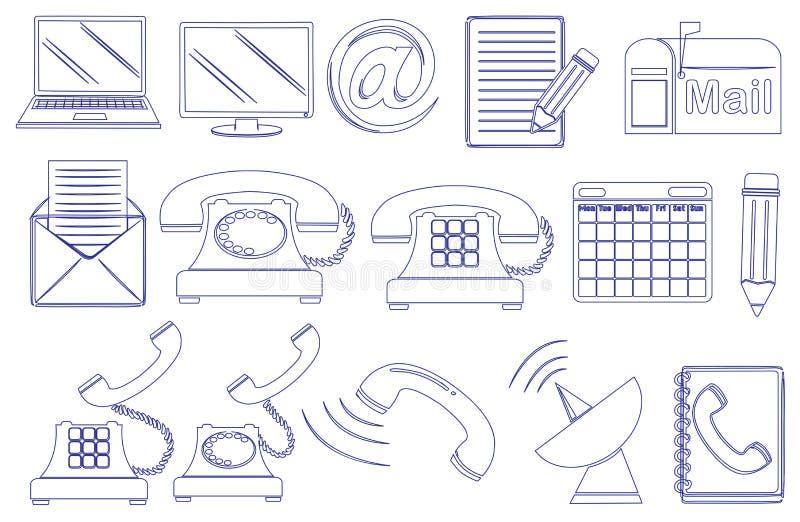 Rabiscar o projeto das ferramentas diferentes para uma comunicação ilustração royalty free