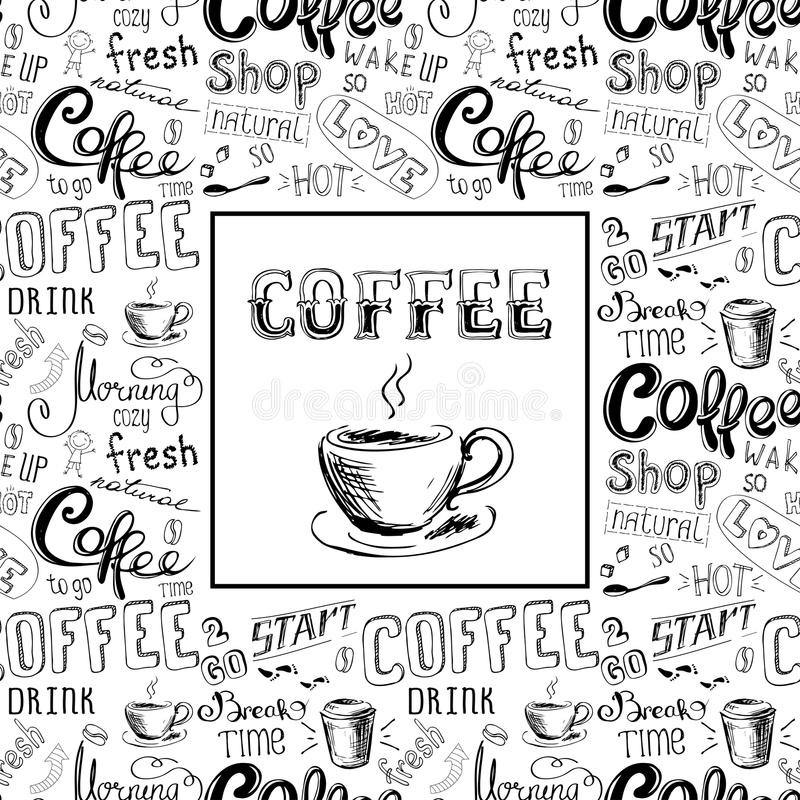 Rabiscar o quadro do café ou o fundo, rotulação tirada mão ilustração royalty free