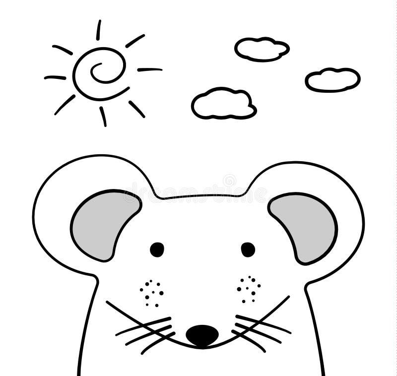 Rabiscar o rato do esboço com sol e nuble-se a ilustração Vetor dos desenhos animados Doodle o estilo Animal selvagem do mamífero ilustração stock