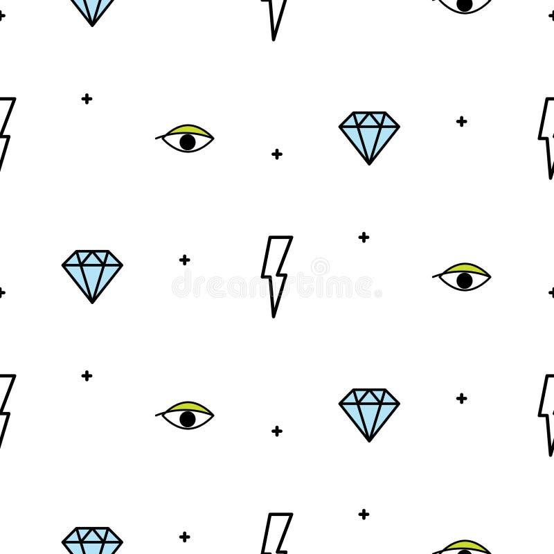 Rabiscar o relâmpago do moderno, o olho e o teste padrão sem emenda do vetor do diamante ilustração royalty free