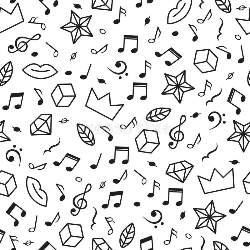 Rabiscar o teste padrão sem emenda com notas da música, corações, estrelas e outros elementos geométricos Mão moderna fundo tirad ilustração royalty free