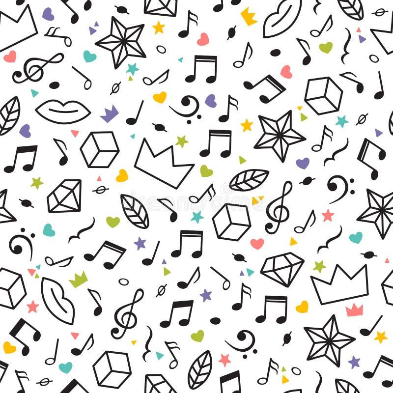 Rabiscar o teste padrão sem emenda com notas da música, corações, estrelas e outros elementos geométricos Tema da música Mão mode ilustração royalty free