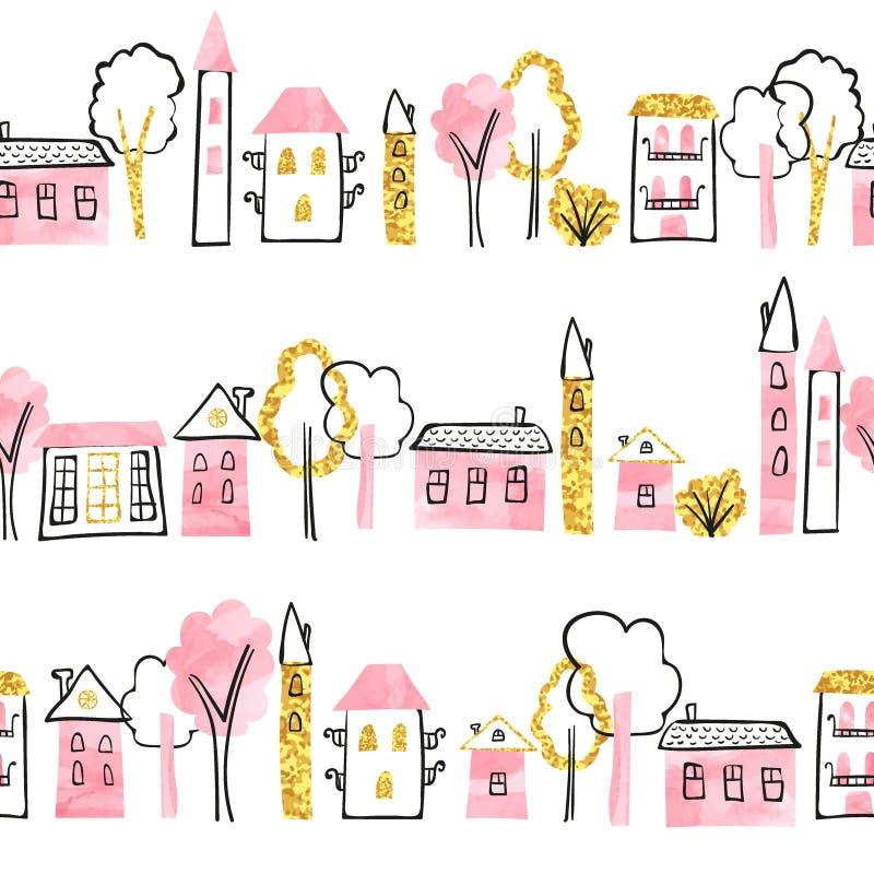 Rabiscar o teste padrão sem emenda da cidade em cores do rosa e do ouro ilustração stock