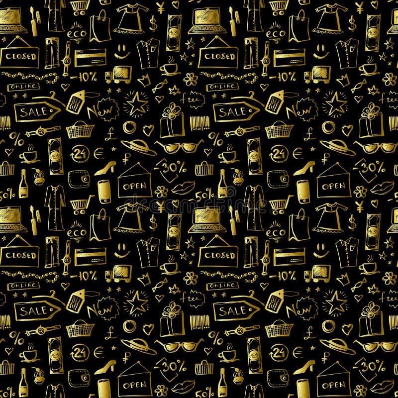 Rabiscar o teste padrão sem emenda dos ícones do ouro da compra para Black Friday ilustração royalty free
