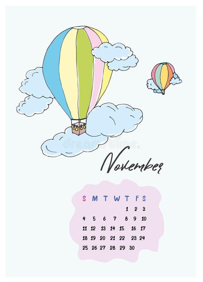 Rabiscar os balões nas nuvens, calendário no mês de novembro de 2018 imagens de stock