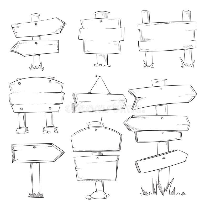Rabiscar os sinais de madeira, grupo de madeira tirado mão do vetor das setas do sentido ilustração royalty free