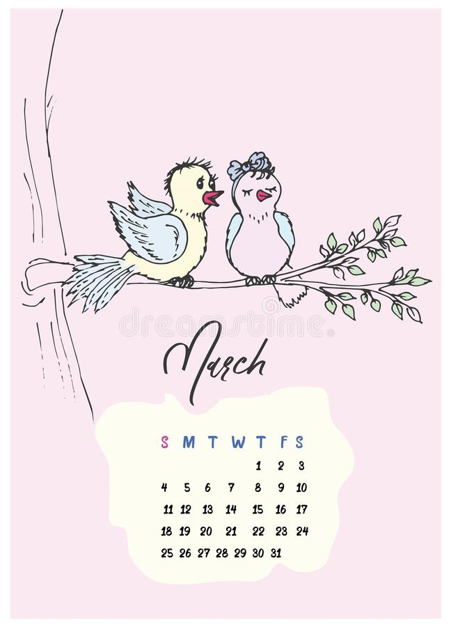 Rabiscar pássaros no calendário do ramo para o mês de março de 2018 imagens de stock