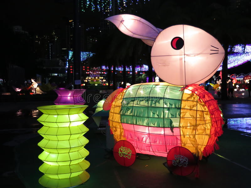Rabbit Chinese Lantern - Mid Autumn Festival stock photos