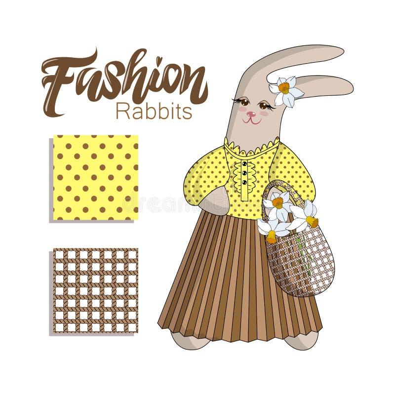 Rabit elegante do coelho da forma na saia plissada em um fundo branco Rotulação da mão Jogo de testes padrões sem emenda ilustração royalty free