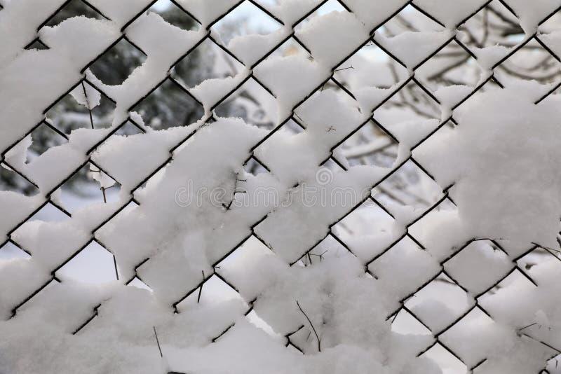Rabitz Malha velha metálica coberta com a neve fotografia de stock royalty free