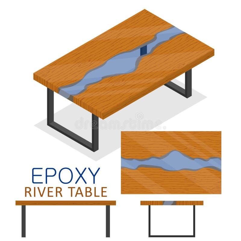 Rable gjorde av trä och genomskinlig epoxy kåda Isometrisk Epoxy stil för design för vind för flodtabellmöblemang som isoleras på royaltyfri illustrationer