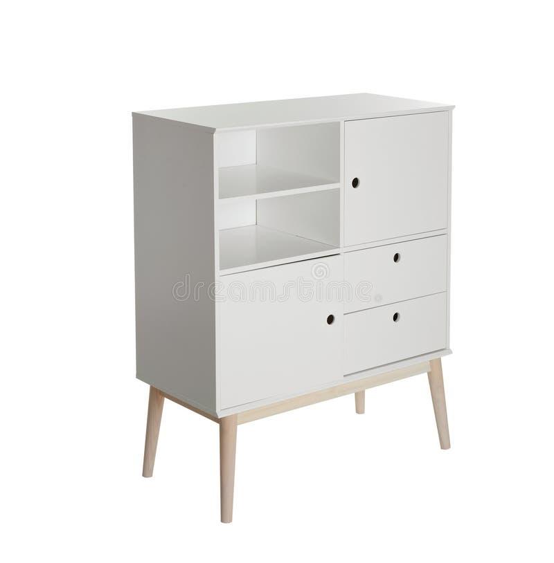 Raboteuse élégante avec les étagères vides sur le fond blanc image stock