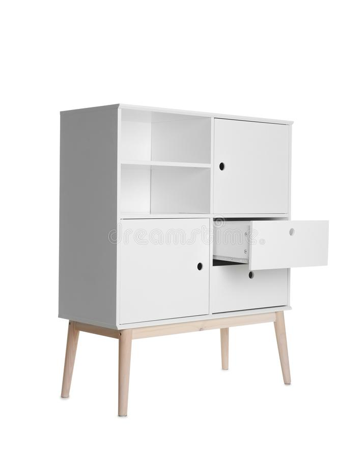 Raboteuse élégante avec les étagères vides sur le fond blanc photographie stock