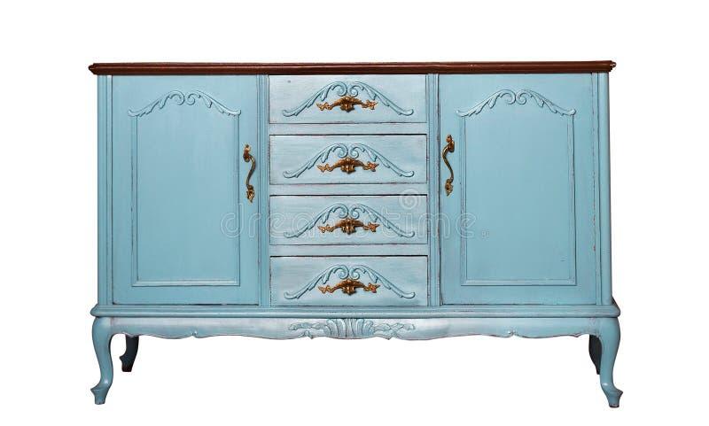 Raboteuse en bois bleue de vintage d'isolement sur le blanc photos stock