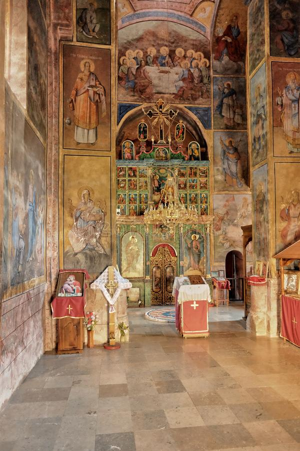 Raca Monastery Serbian Orthodox Near Bajina Basta, Serbia. BAJINA BASTA, SERBIA - AUGUST 05, 2016: interior of the church dedicated to the Jesus Christ Ascension royalty free stock image
