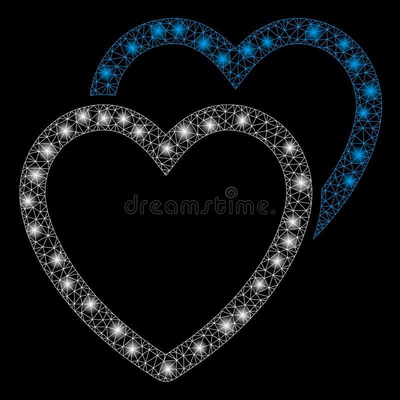 Raca siatki miłości 2D serca z raców punktami ilustracji