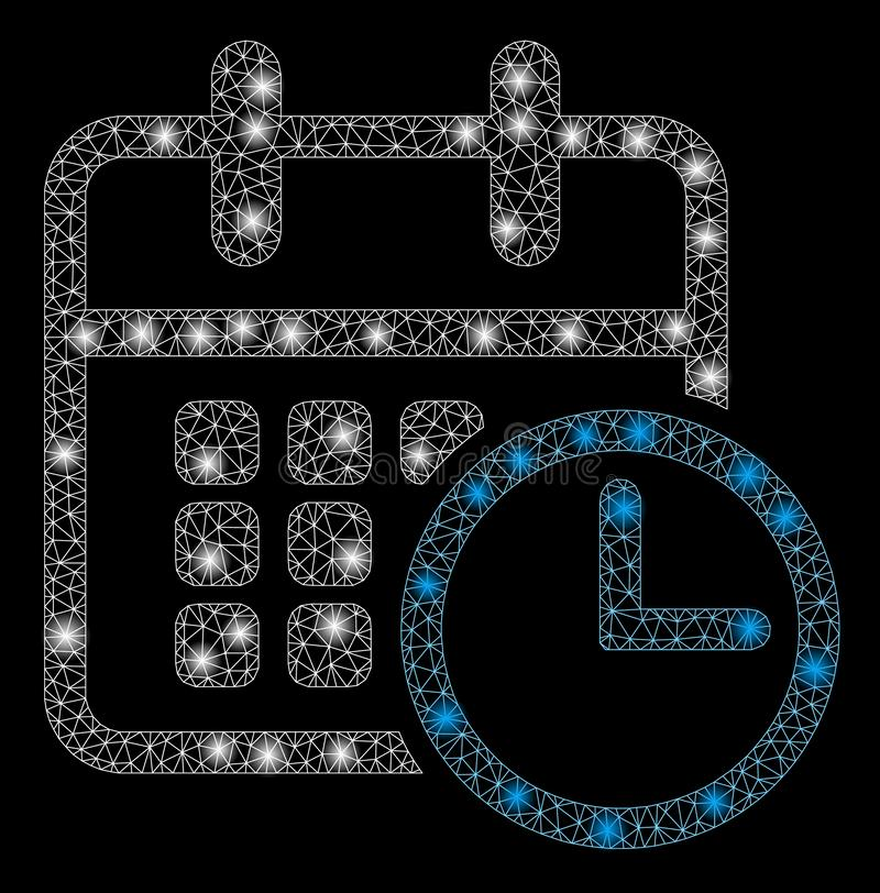 Raca siatki rozkład zajęć 2D zegar z raców punktami royalty ilustracja