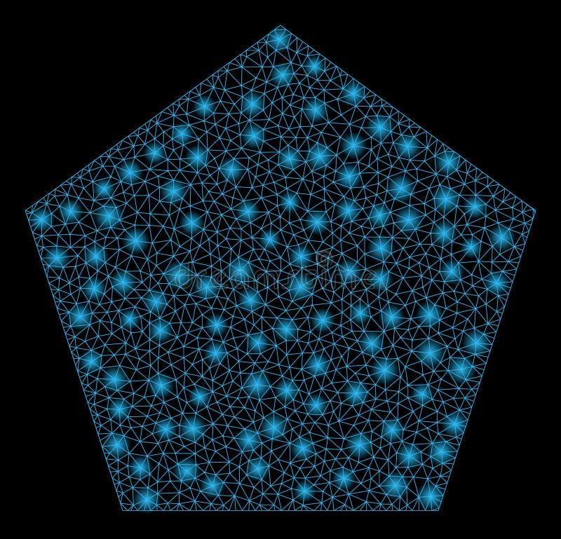 Raca siatki sieć Wypełniający Pentagon z raców punktami ilustracji