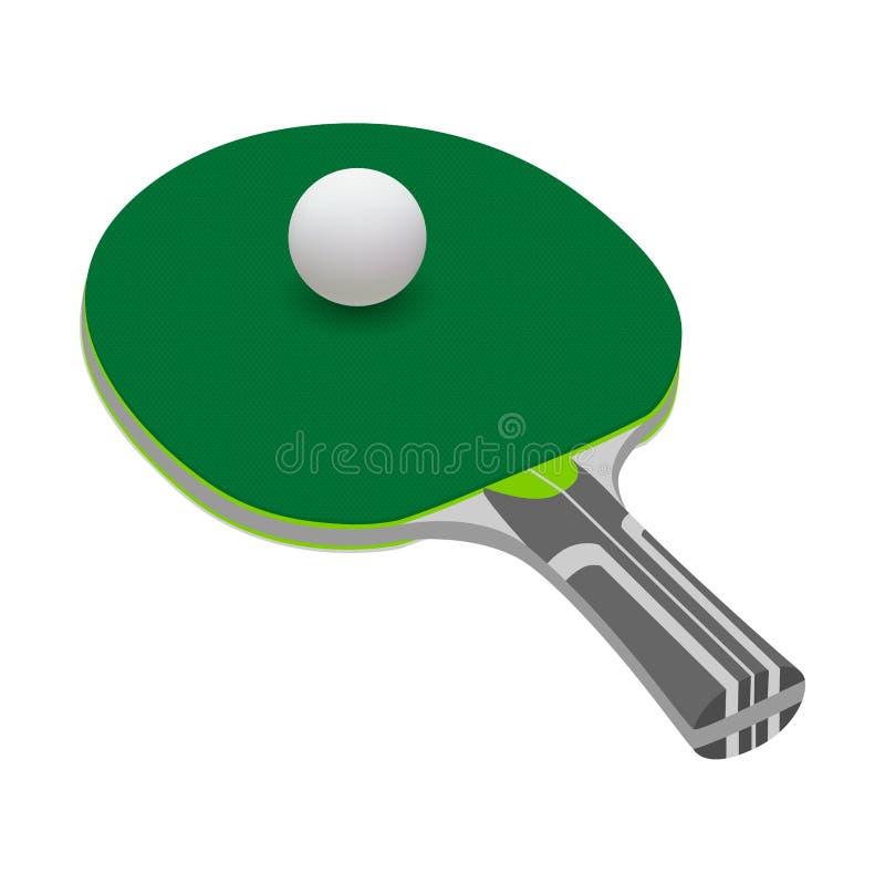 Racchetta di tennis nel vettore su fondo bianco Pagaia di ping-pong nel vettore Pallina da tennis nel vettore isolata su fondo bi illustrazione di stock