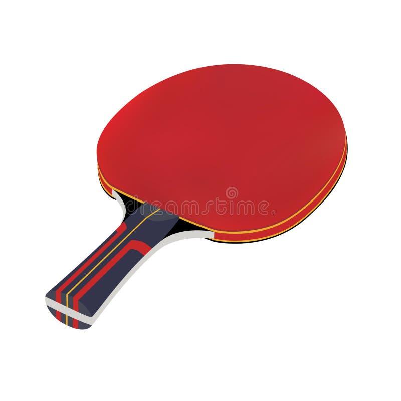 Racchetta di tennis nel vettore su fondo bianco Pagaia di ping-pong nel vettore Pallina da tennis nel vettore isolata su fondo bi illustrazione vettoriale