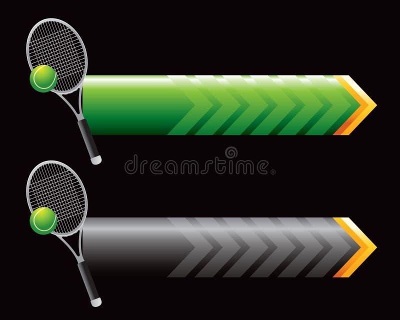 Racchetta e sfera di tennis sulle frecce verdi e nere illustrazione vettoriale