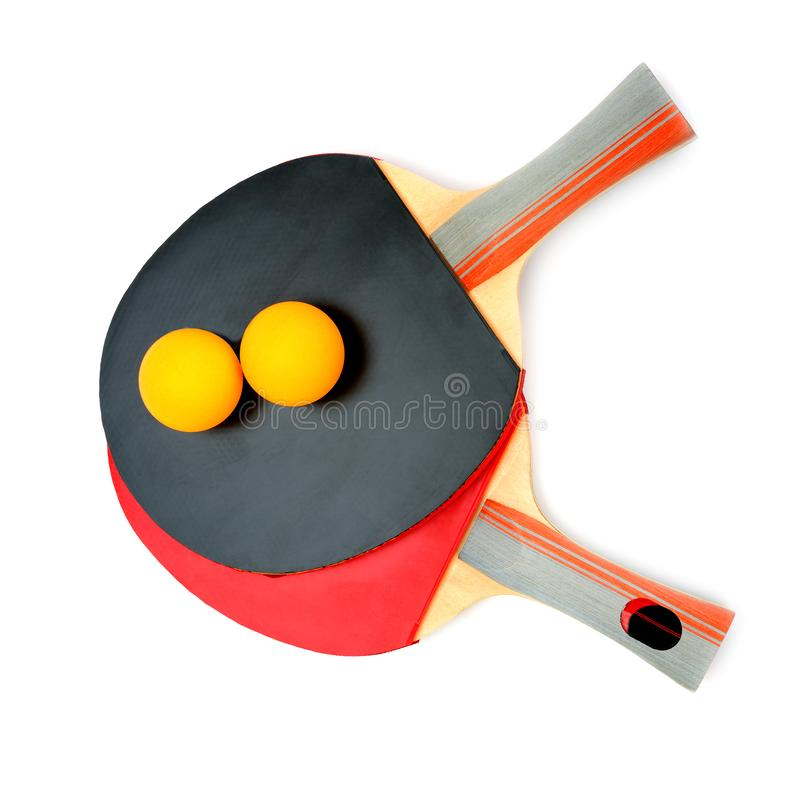 Racchette di ping-pong isolate su fondo bianco fotografia stock