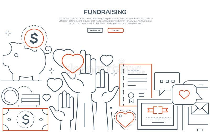 Raccogliersi fondi - linea moderna insegna di web di stile di progettazione royalty illustrazione gratis