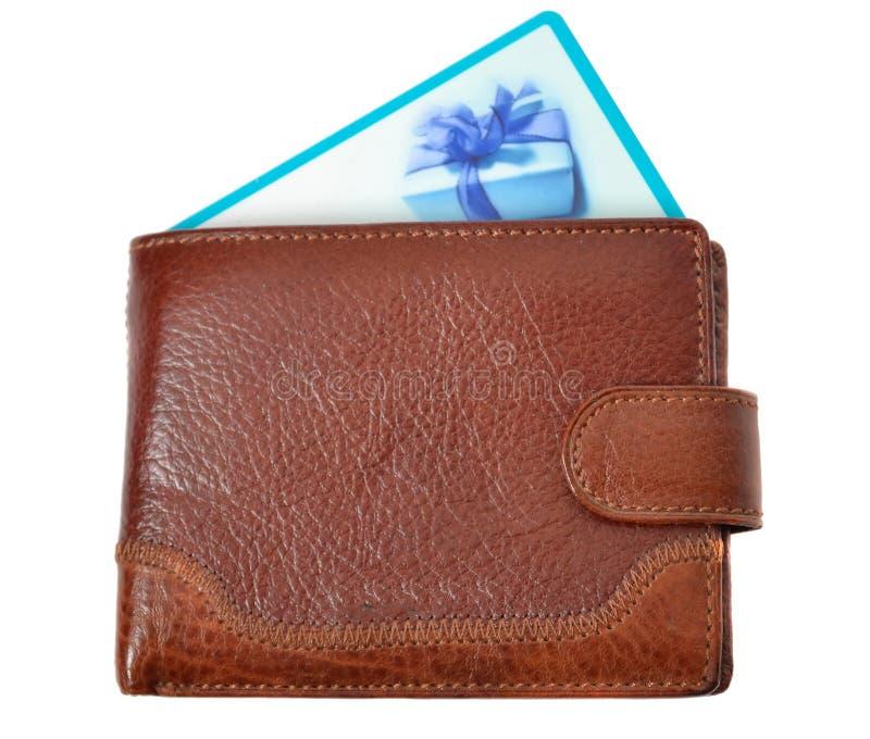 Raccoglitore del Brown con la scheda di sconto fotografie stock libere da diritti