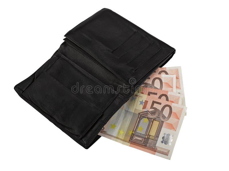 Raccoglitore di cuoio con alcuni euro fotografia stock