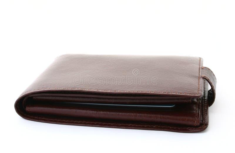 Raccoglitore di cuoio del Brown su bianco immagine stock libera da diritti