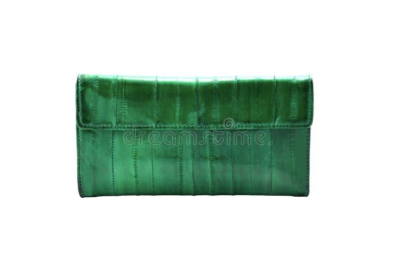 Raccoglitore di cuoio verde fotografia stock