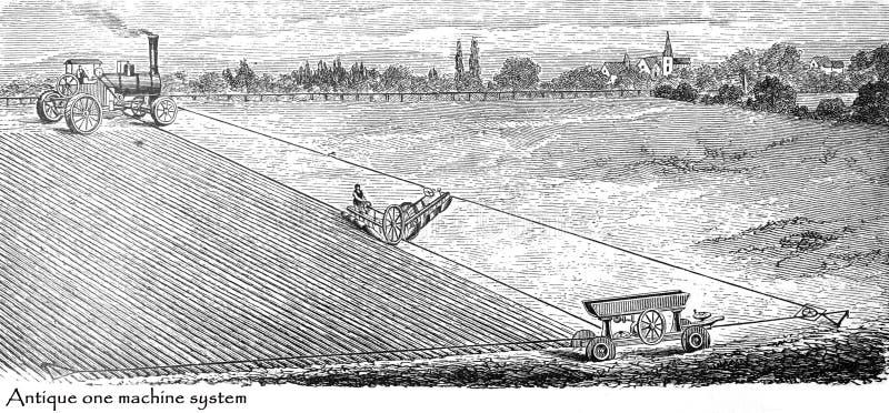 Raccoglitore di vapore, trattore d'annata, macchina per la lavorazione Bandiera panoramico dell'agricoltura Allevatori - Antique  illustrazione di stock