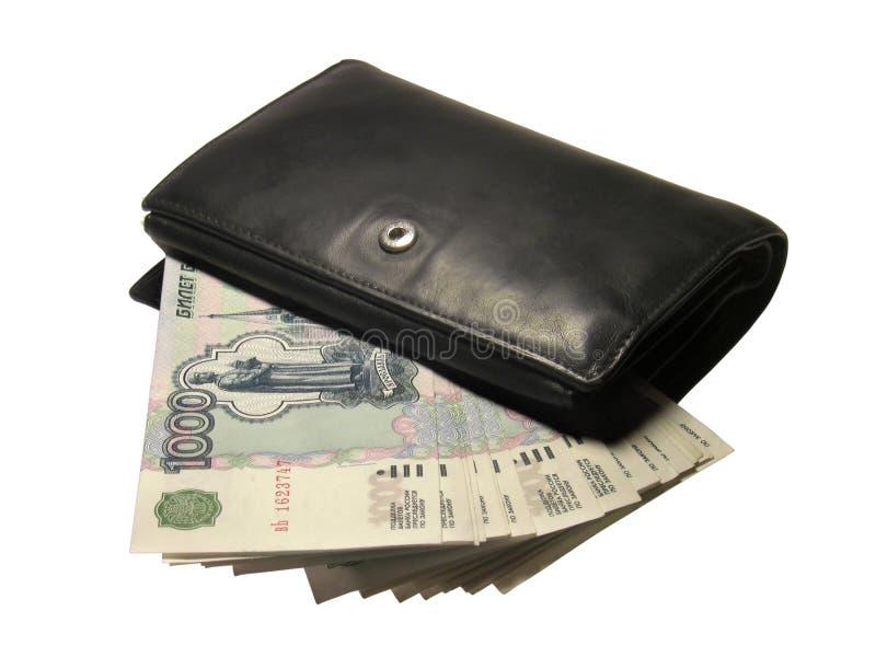 Raccoglitore nero con soldi immagine stock libera da diritti