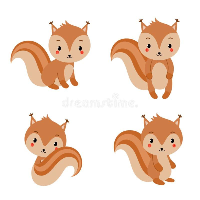 Raccolta adorabile degli scoiattoli nello stile piano moderno Illustrazione di vettore illustrazione vettoriale