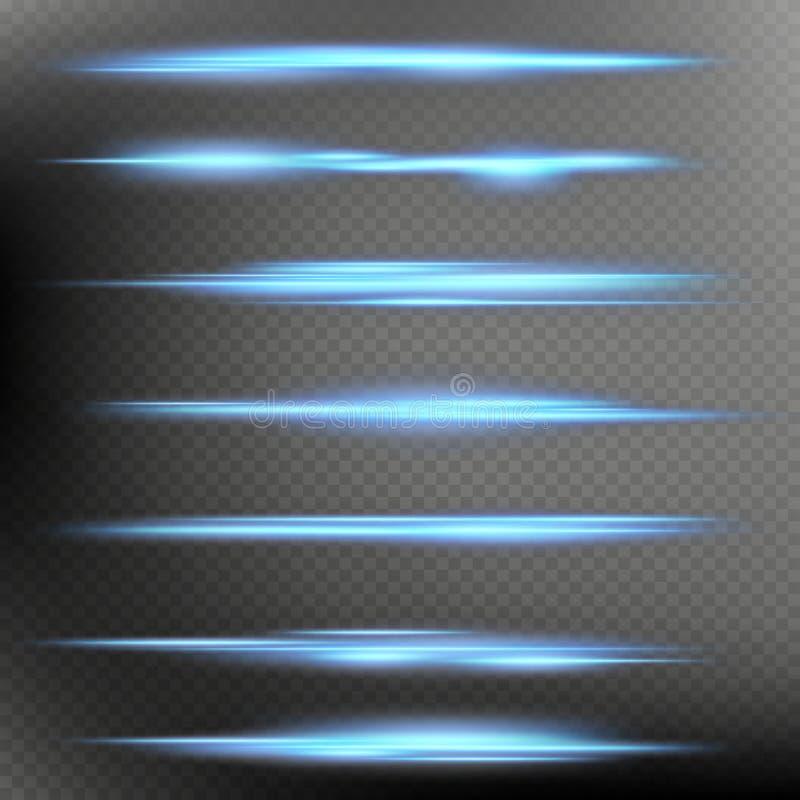 Raccolta al neon magica d'ardore di effetti degli oggetti del chiarore della luce della sfuocatura isolata su fondo trasparente s royalty illustrazione gratis