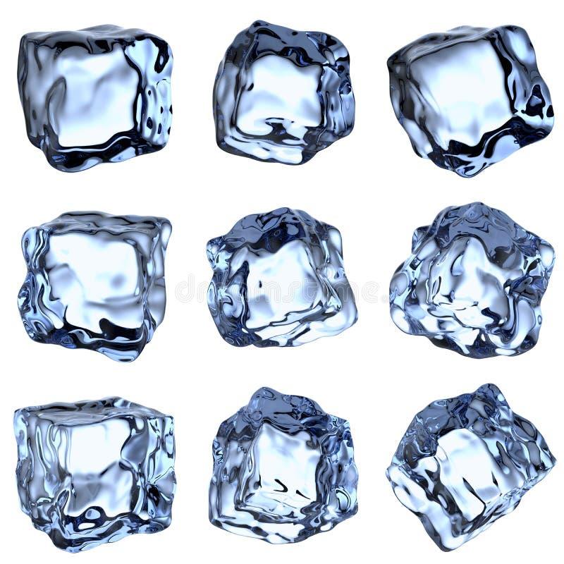 Raccolta blu dei cubi di ghiacciata illustrazione vettoriale