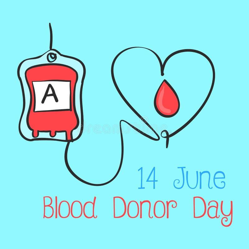 Raccolta blu di giorno del donatore di sangue del fondo illustrazione di stock