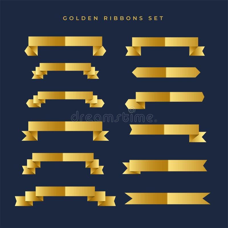 Raccolta brillante dei nastri di colore dell'oro royalty illustrazione gratis