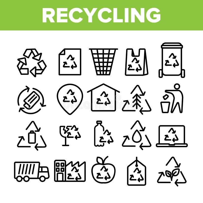 Raccolta che ricicla linea sottile vettore dell'insieme delle icone illustrazione di stock
