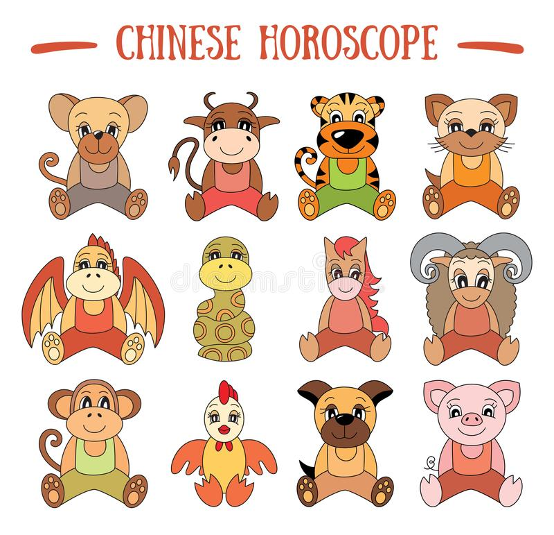Raccolta cinese dell'oroscopo Insieme del segno dello zodiaco Maiale, ratto, bue royalty illustrazione gratis