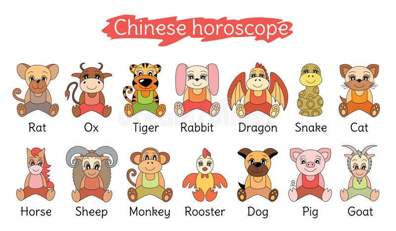 Raccolta cinese dell'oroscopo Insieme del segno dello zodiaco Maiale, ratto, bue, TIG illustrazione di stock