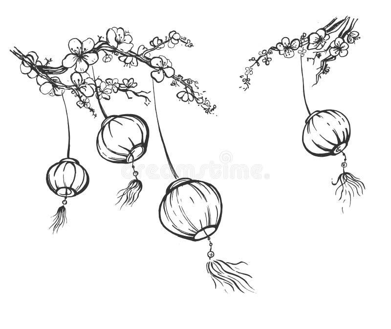 Raccolta cinese delle lanterne di carta royalty illustrazione gratis
