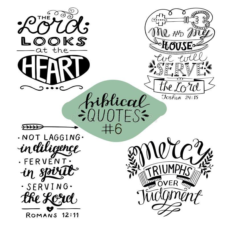 Raccolta 4 con 4 versi della bibbia Me e la mia casa serviremo il signore misericordia royalty illustrazione gratis