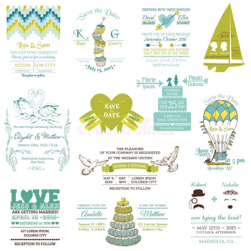 Raccolta d'annata dell'invito di nozze illustrazione di stock