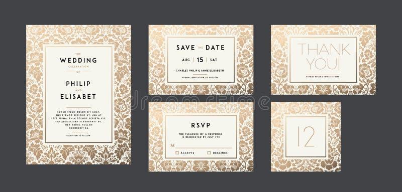 Raccolta d'annata dell'invito di nozze Disegno moderno royalty illustrazione gratis