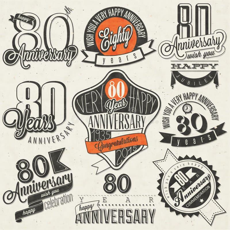 Raccolta d'annata di anniversario di stile ottantesimo royalty illustrazione gratis