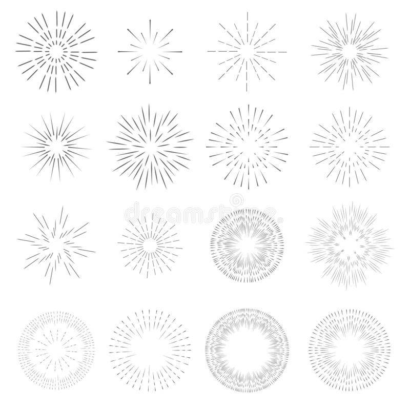 Raccolta d'annata di progettazione del modello dello sprazzo di sole Raggi del vettore scoppiato leggero di retro stella illustrazione vettoriale